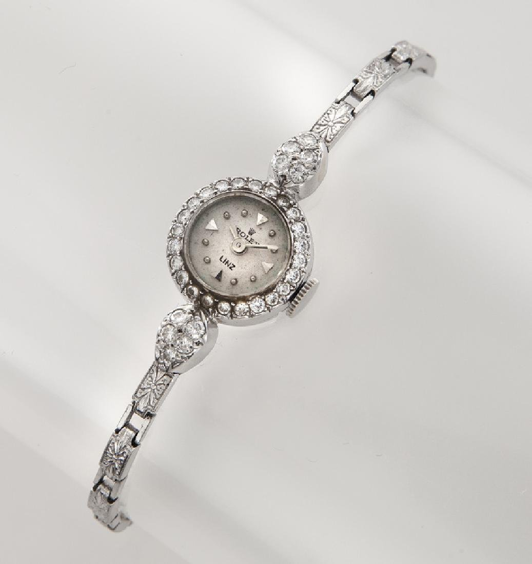 Retro Rolex platinum and diamond bracelet watch