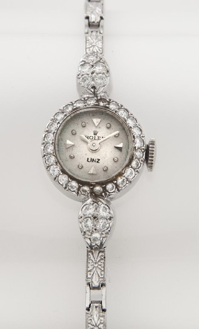 Retro Rolex platinum and diamond bracelet watch - 2