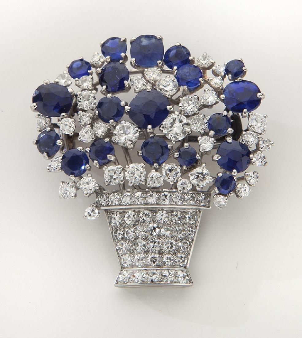 Retro platinum, diamond and Ceylon sapphire brooch