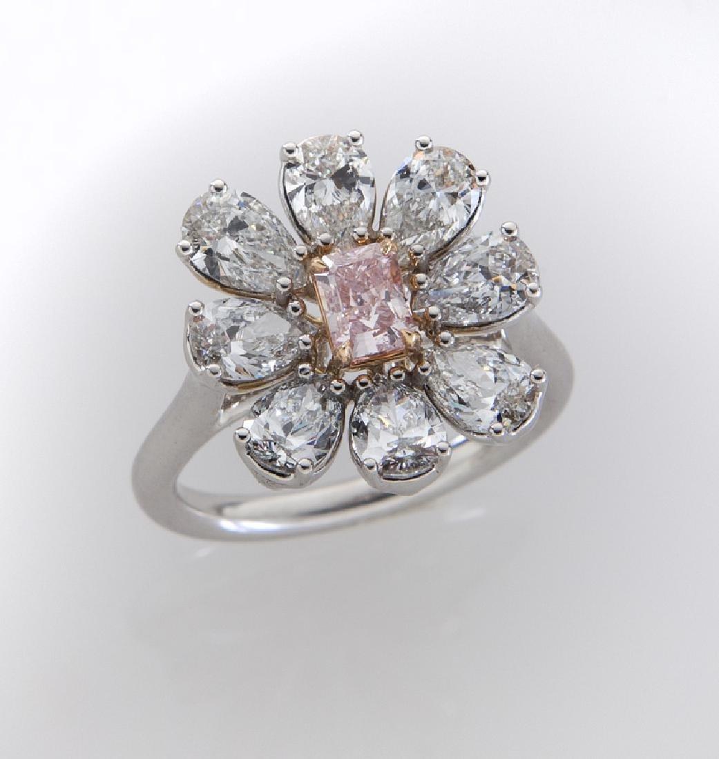 Fancy intense purplish pink diamond (GIA) ring,