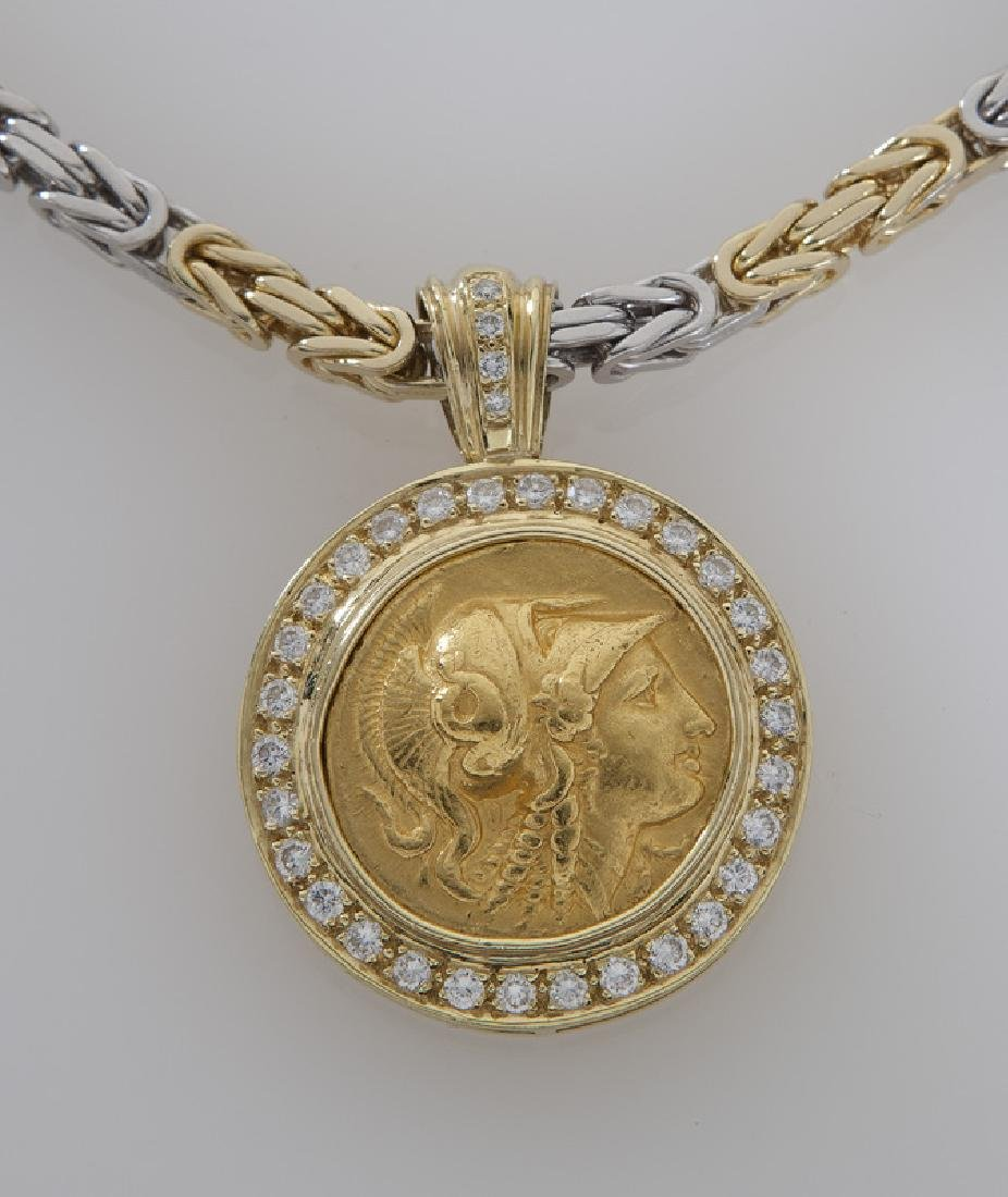 18K gold and diamond Ancient Greek coin pendant - 2