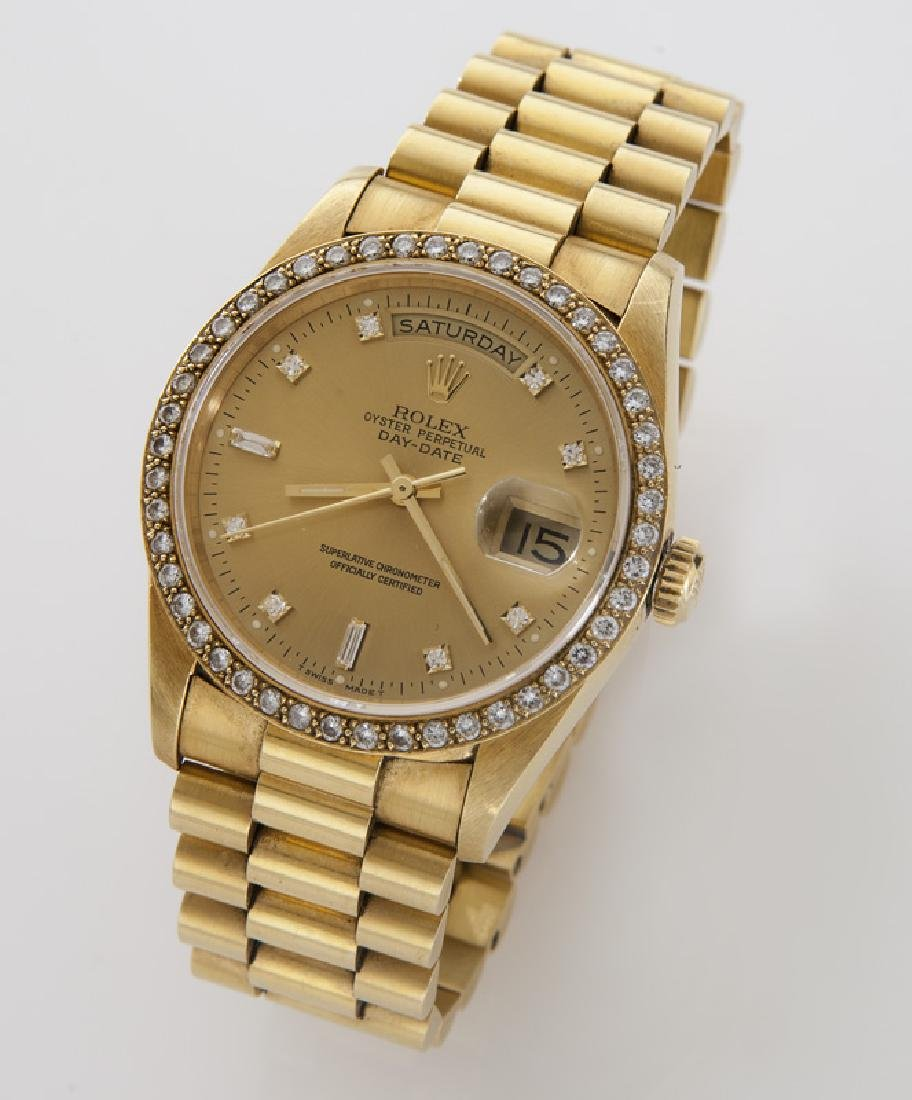 18K gold and diamond day-date Rolex
