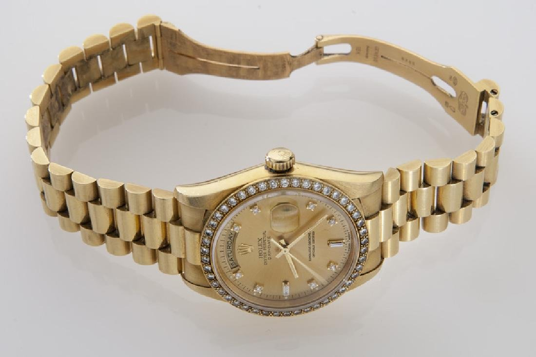18K gold and diamond day-date Rolex - 4