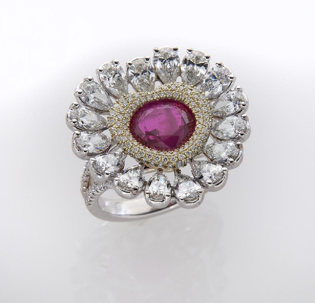 18K gold, diamond & natural Burmese ruby (Gübelin)