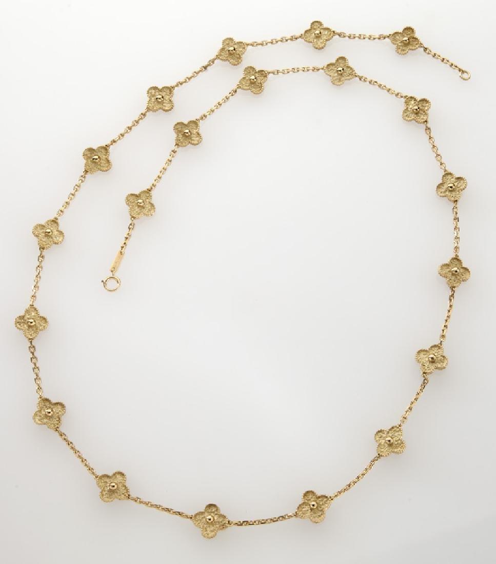 """Van Cleef & Arpels 18K gold """"Alhambra"""" necklace."""