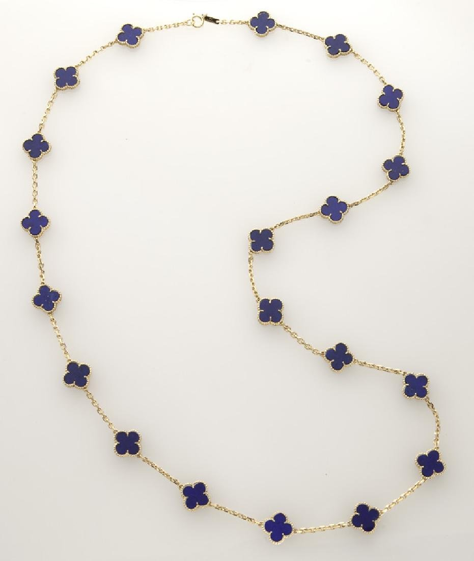 "Van Cleef & Arpels 18K gold and lapis ""Alhambra"""