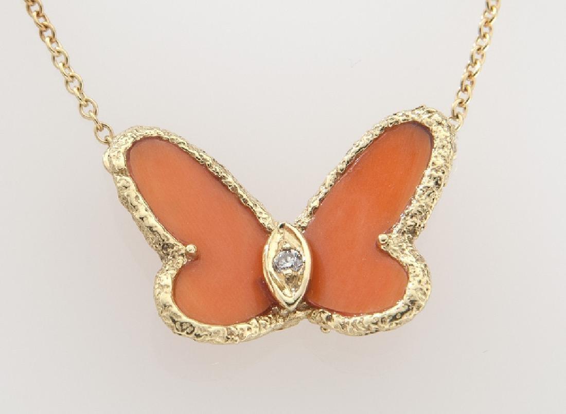 Van Cleef & Arpels 18K, diamond, coral butterfly