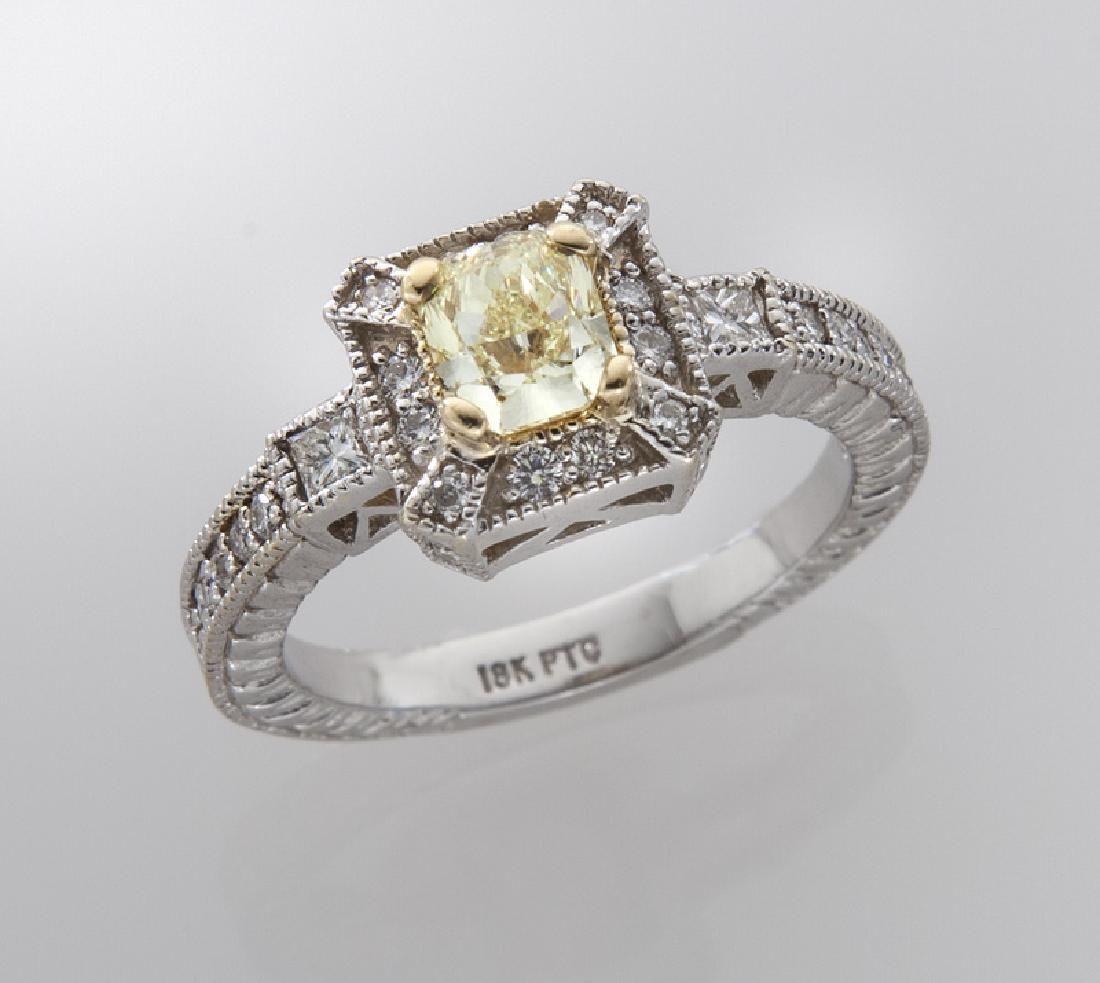 18K gold, platinum and fancy yellow diamond ring