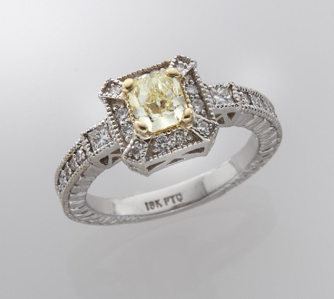 18K gold, platinum and fancy yellow diamond ring