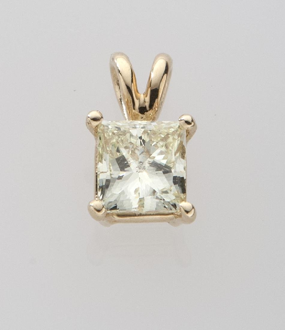 Fancy yellow 1.01 ct. (EGL) diamond pendant