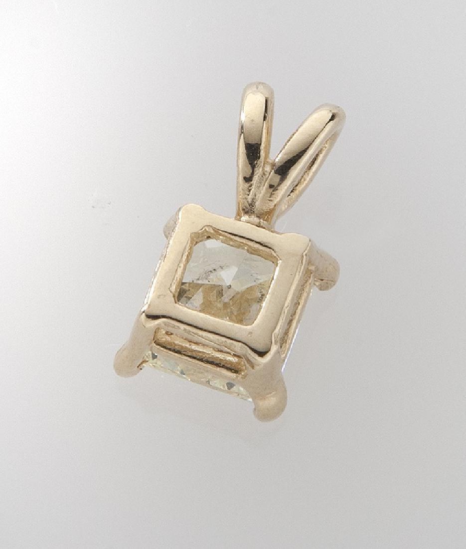 Fancy yellow 1.01 ct. (EGL) diamond pendant - 2