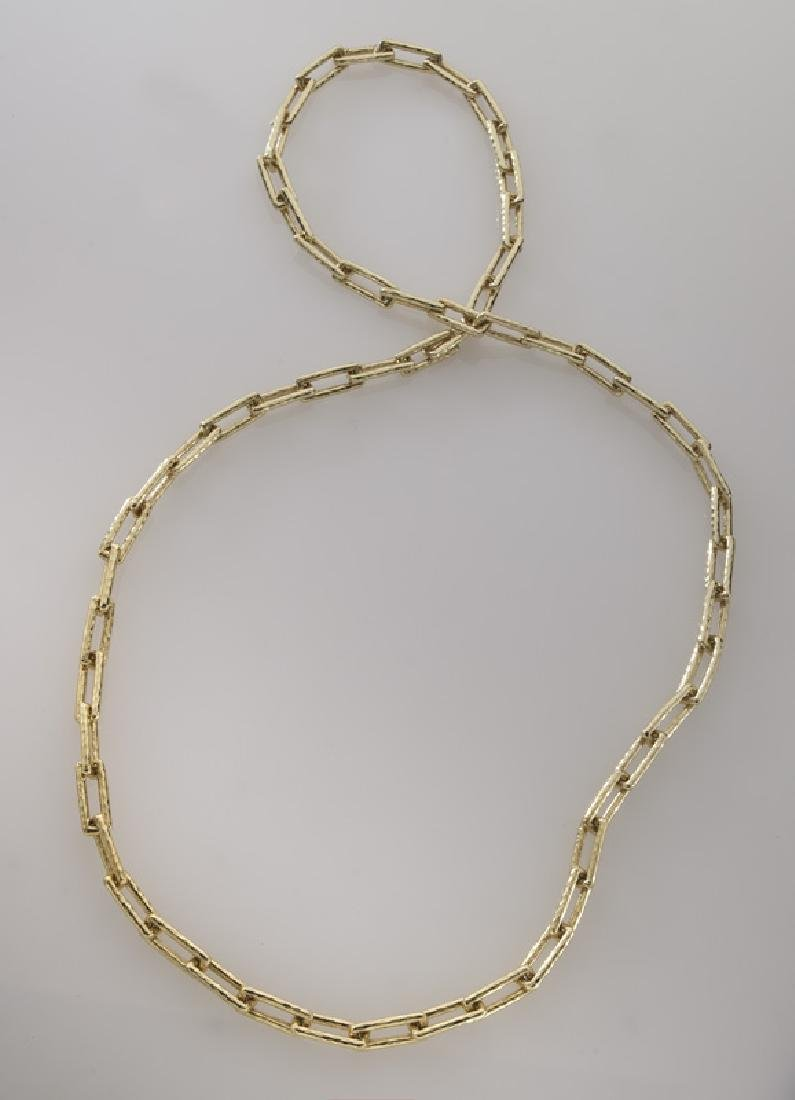 18K gold hammered link necklace.