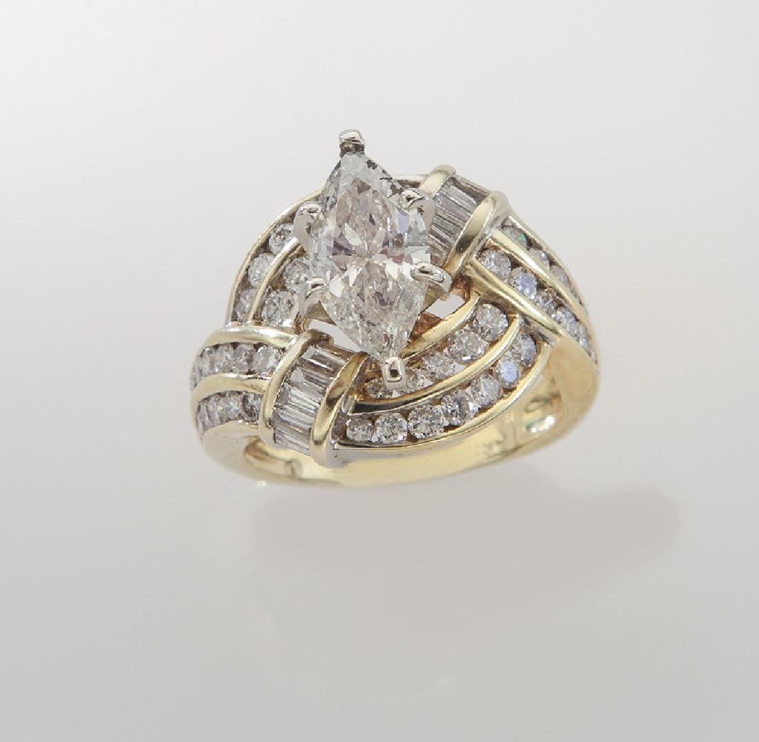 14K and diamond ring featuring a 1.11 ct. (GIA)