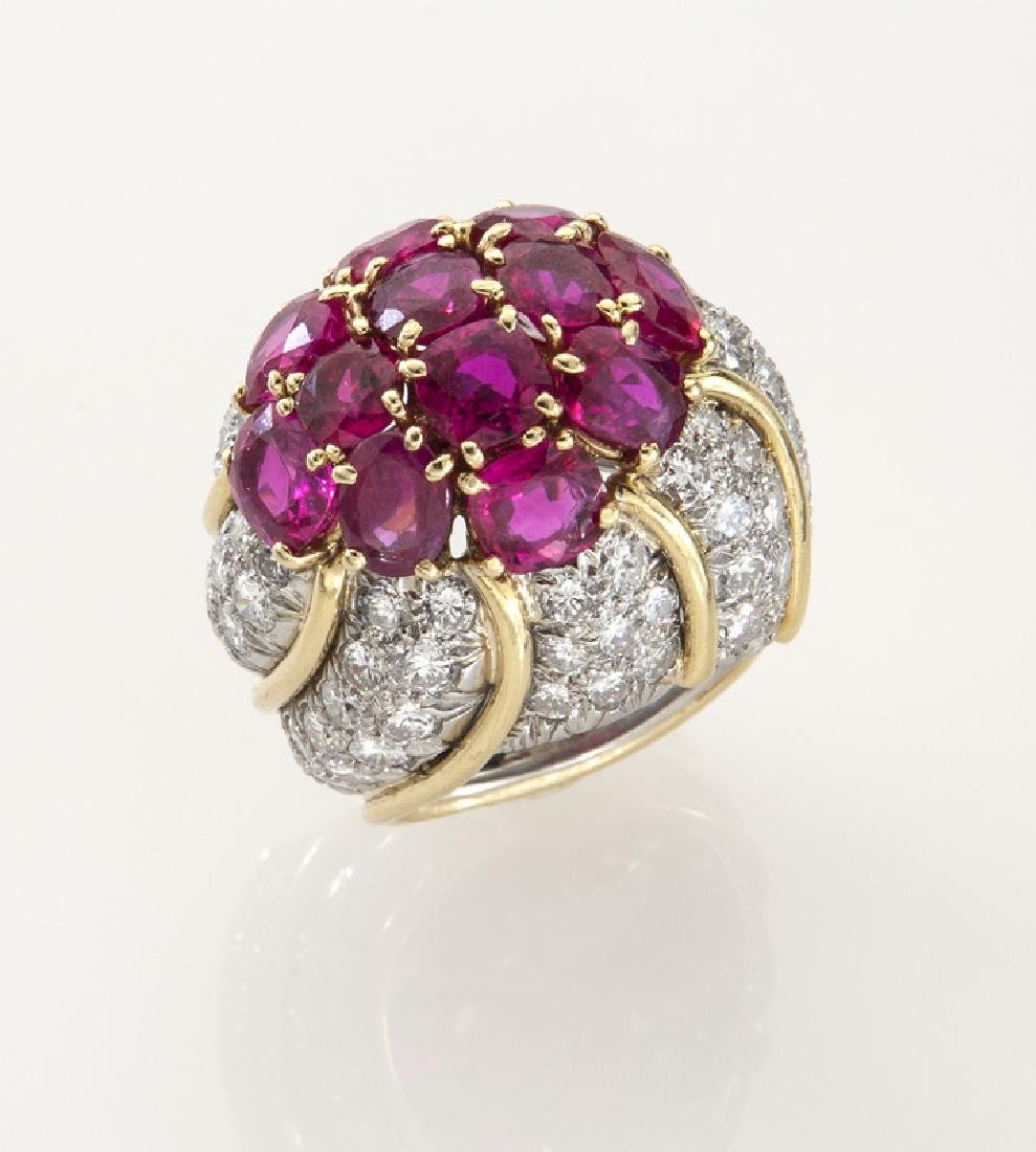 David Webb platinum, 18K, diamond & ruby ring,