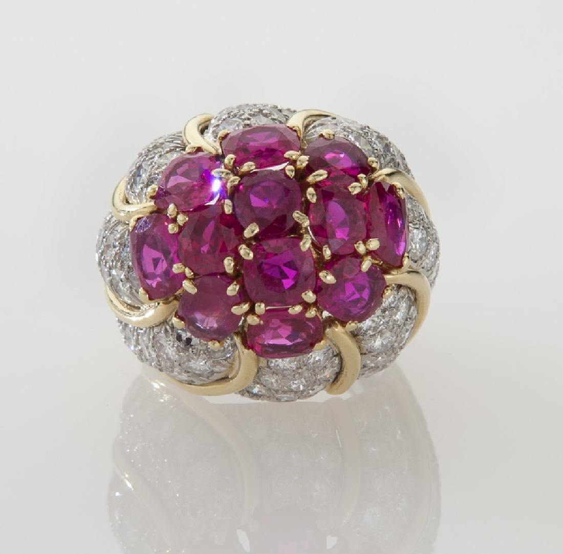 David Webb platinum, 18K, diamond & ruby ring, - 2