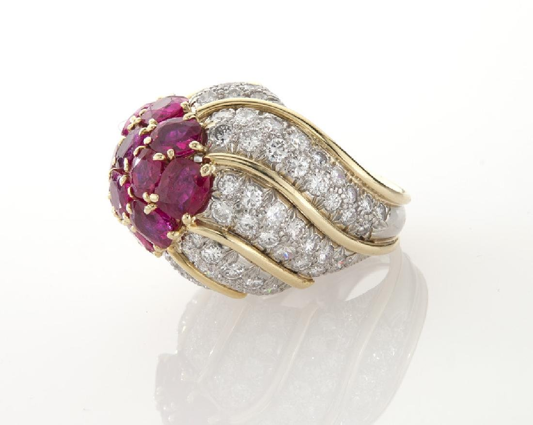 David Webb platinum, 18K, diamond & ruby ring, - 3