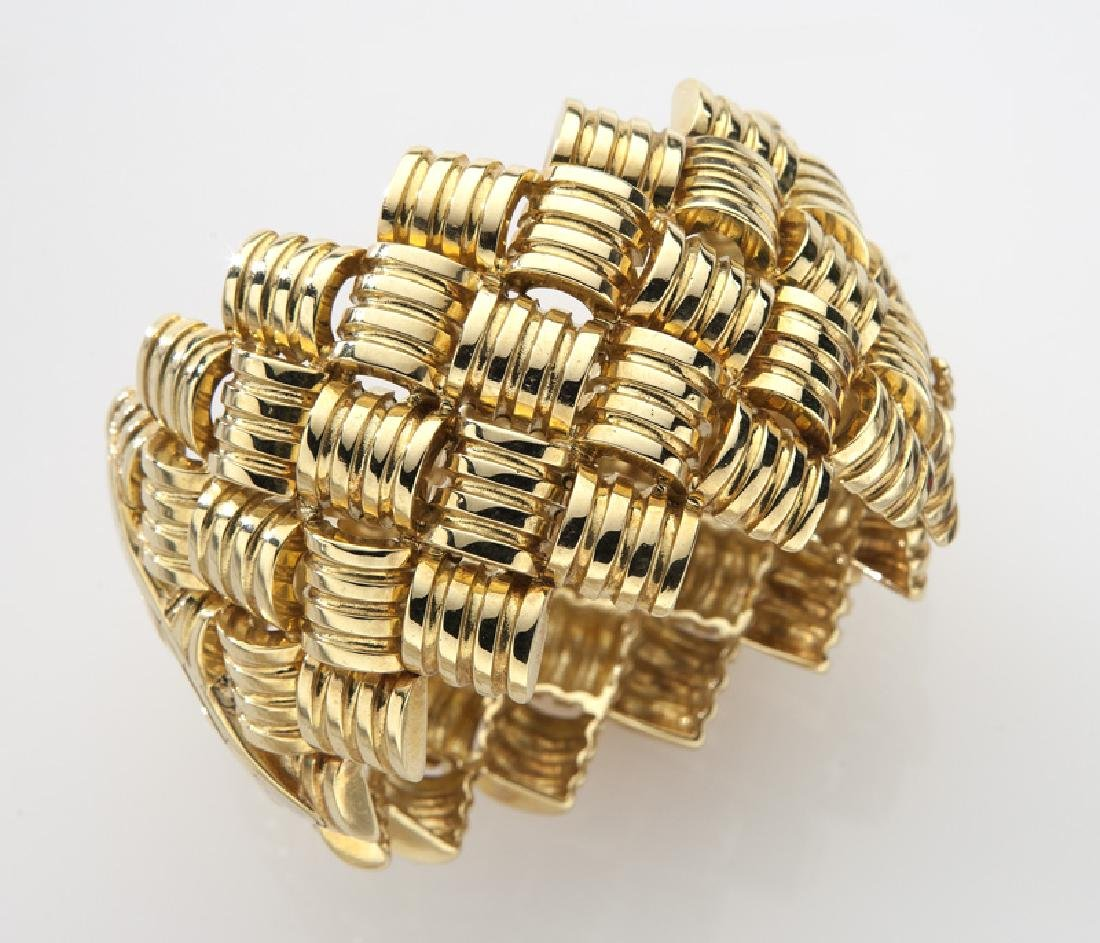 18K gold barrel and link style cuff bracelet