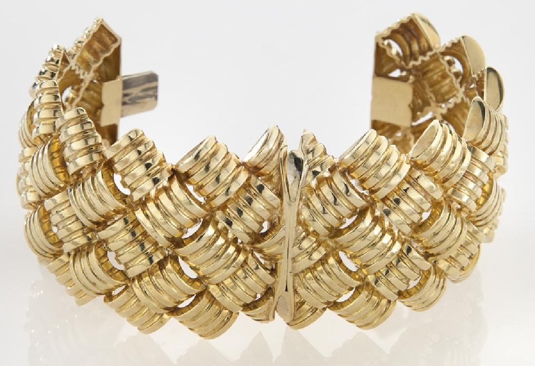 18K gold barrel and link style cuff bracelet - 2