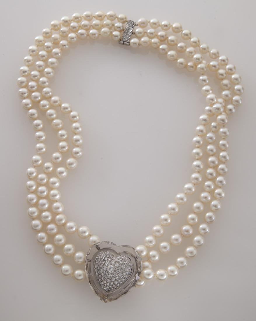 David Webb 14K gold, diamond, crystal and pearl
