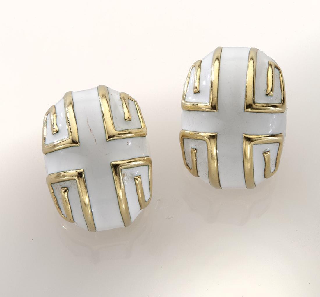 David Webb 14K gold and enamel earrings