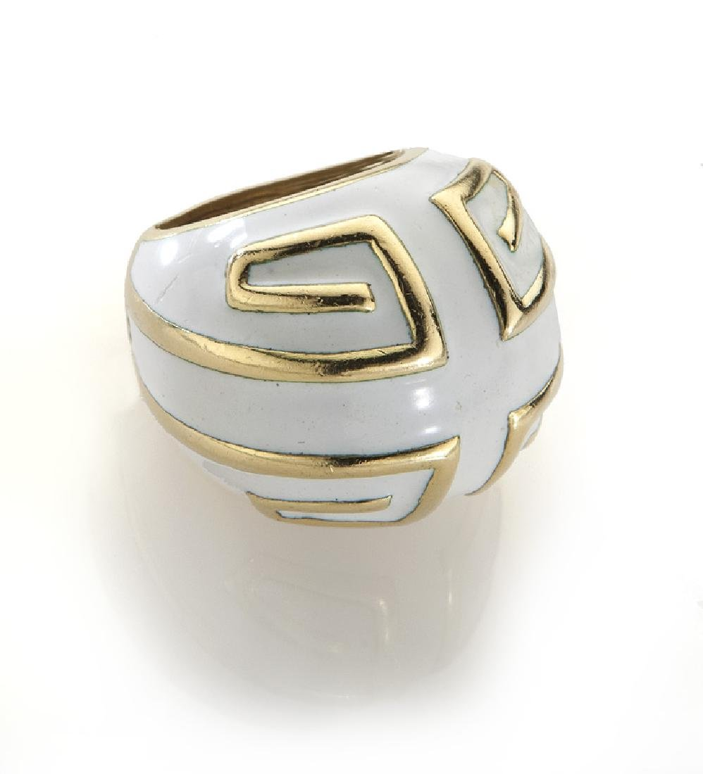 David Webb 18K and enamel ring.
