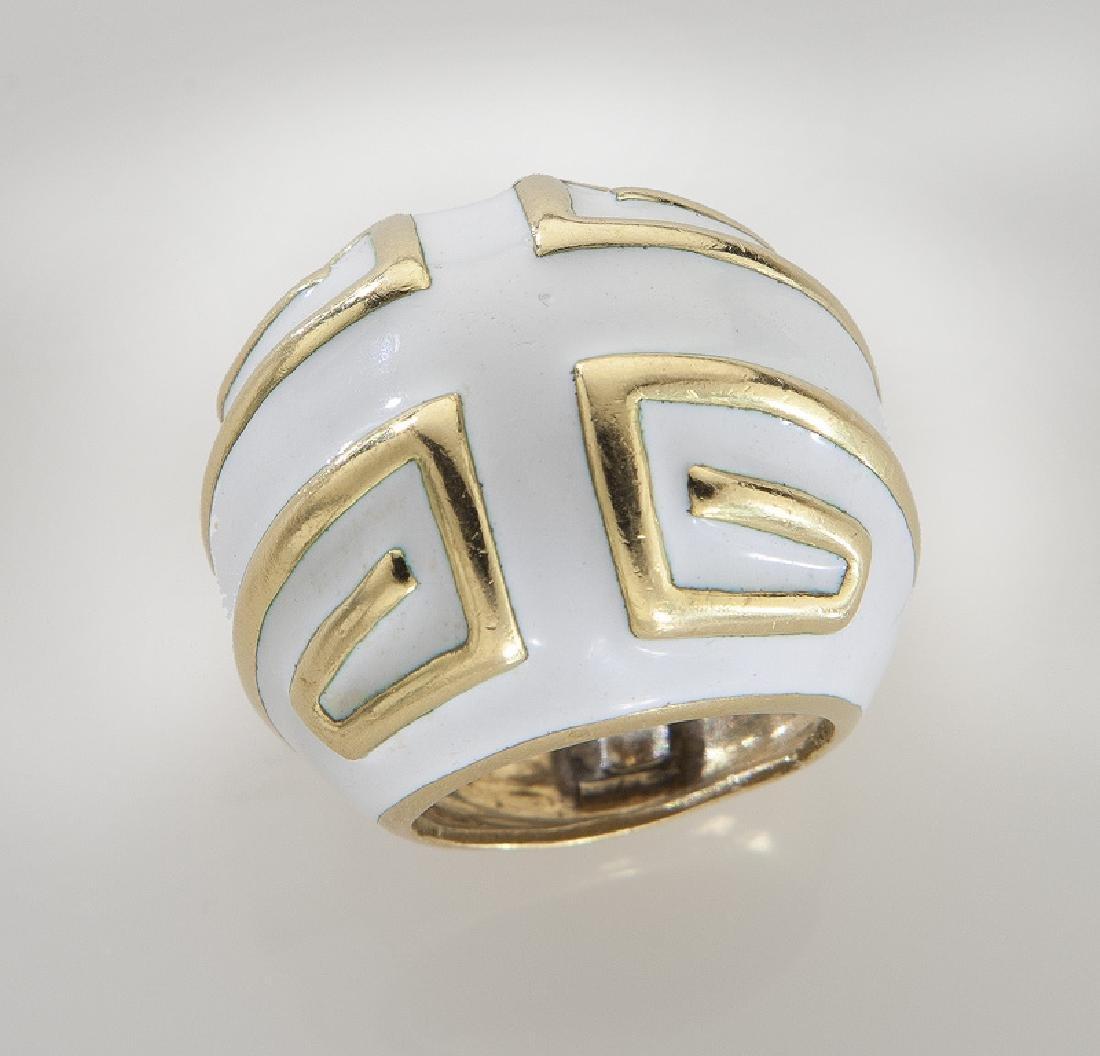 David Webb 18K and enamel ring. - 2