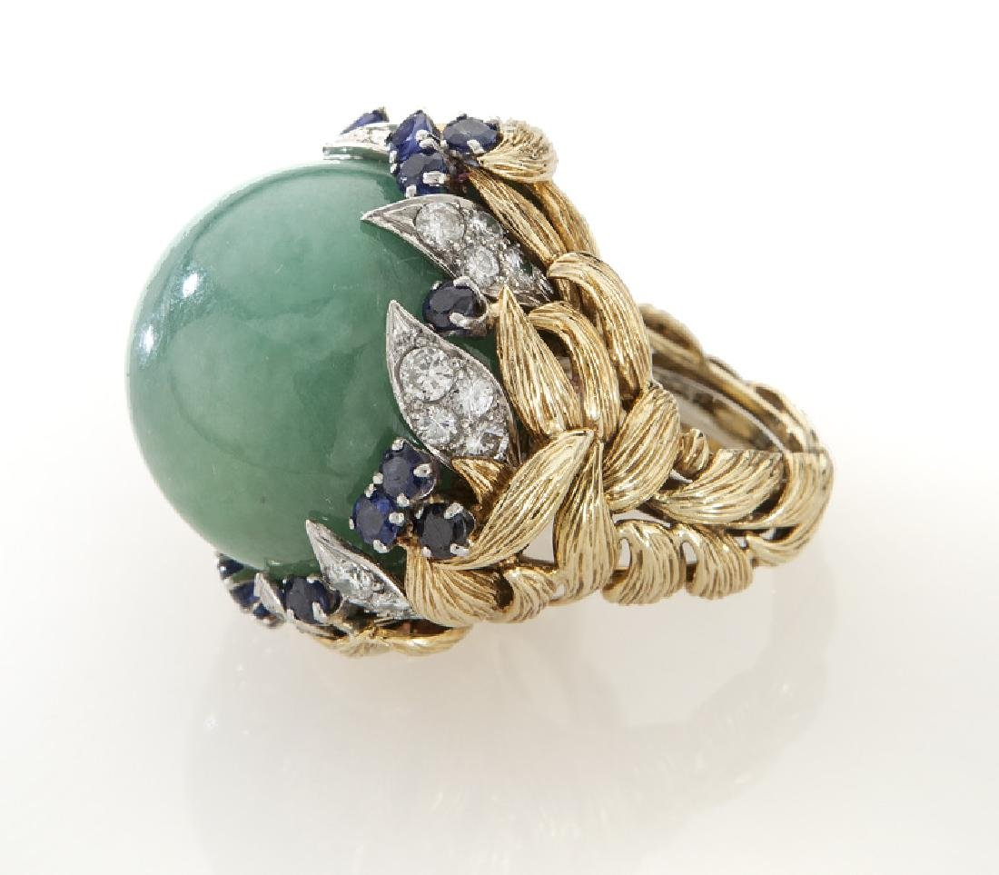 David Webb platinum, 18K gold, diamond, sapphire
