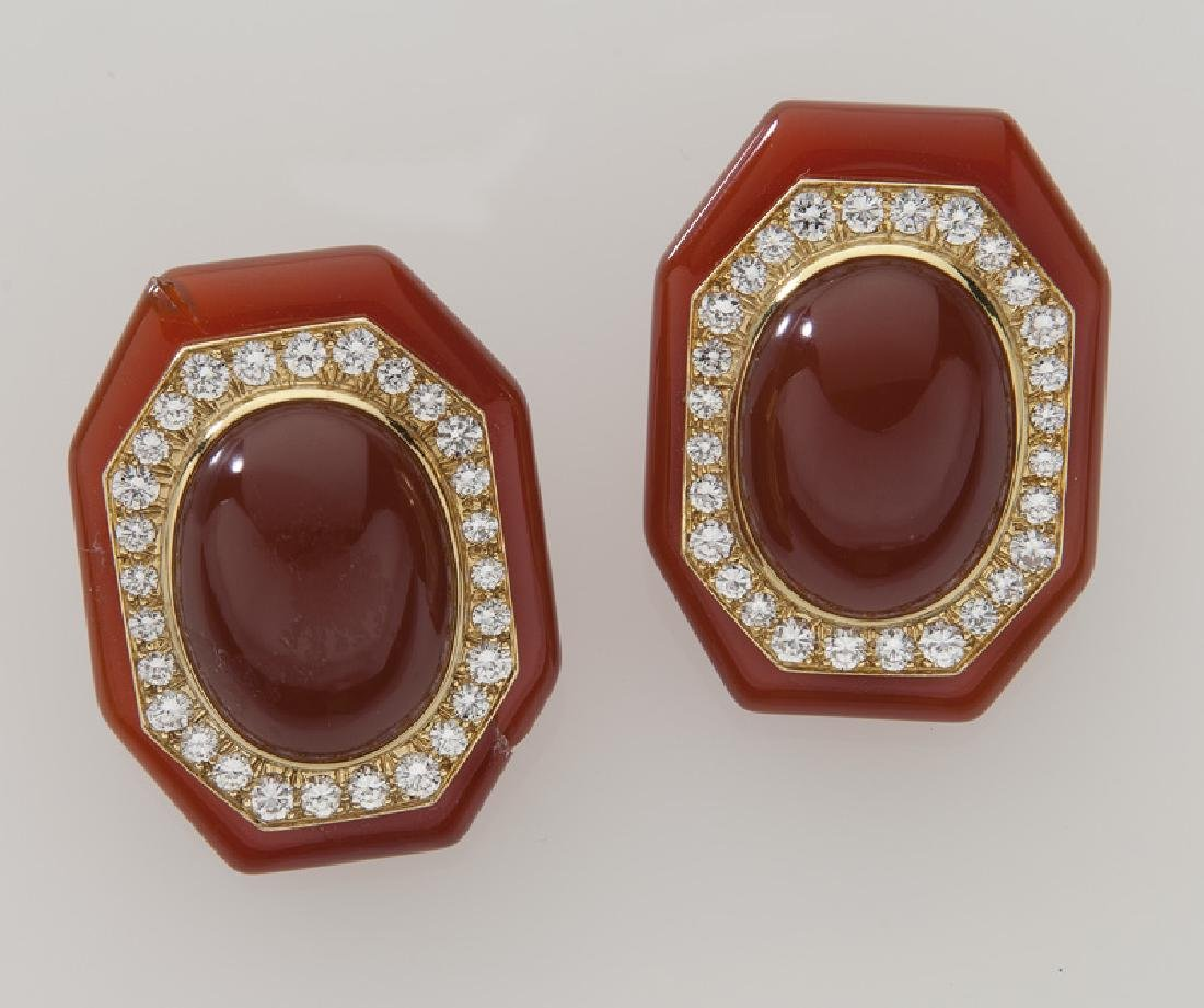 Pair of David Webb 18K gold, diamond and carnelian