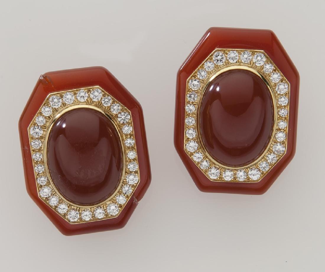 Pair of David Webb 18K gold, diamond and carnelian