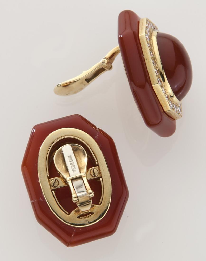 Pair of David Webb 18K gold, diamond and carnelian - 2