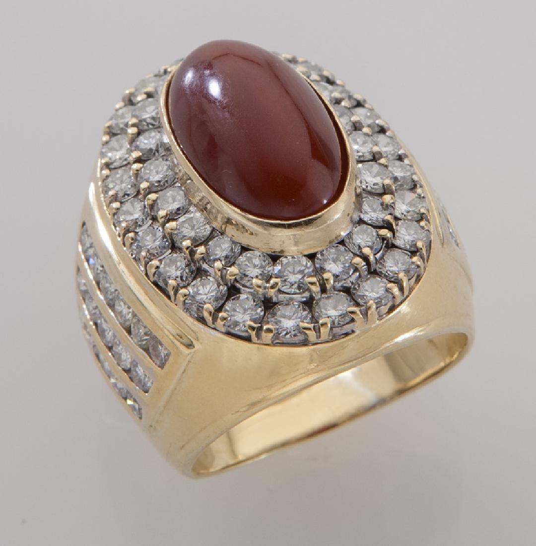 14K gold, carnelian and diamond dinner ring