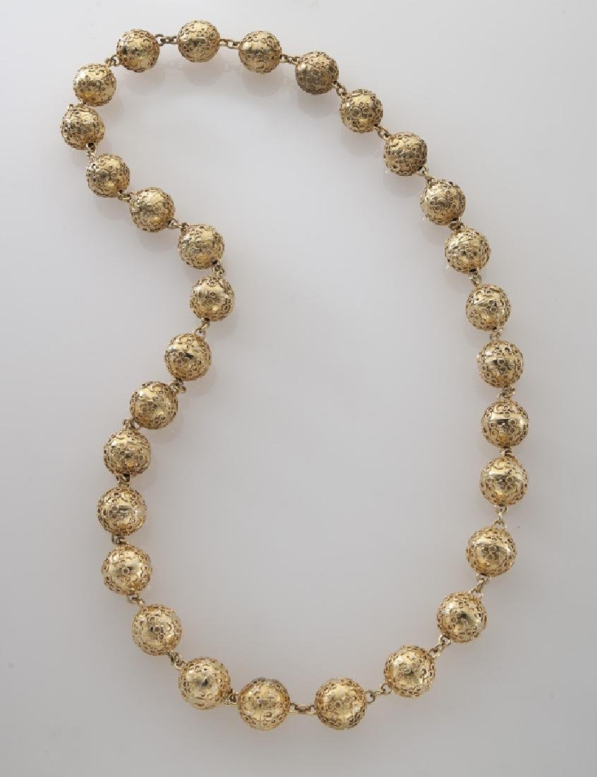 14K gold Etruscan Revival style beaded necklace.