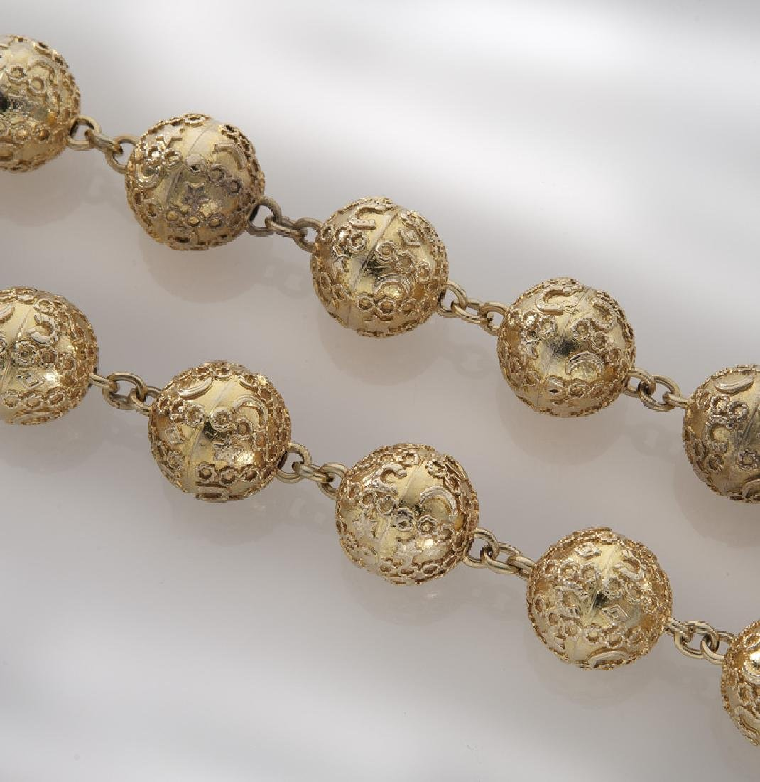 14K gold Etruscan Revival style beaded necklace. - 2