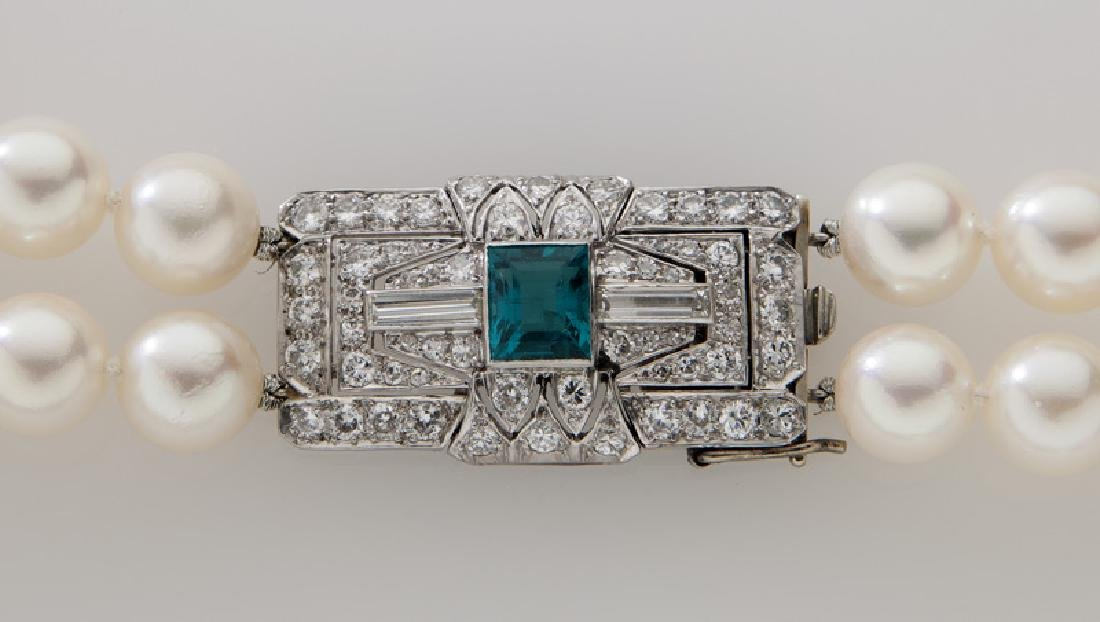 Platinum, diamond, emerald and pearl necklace - 2