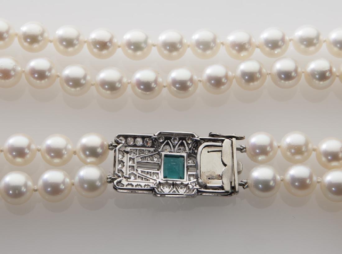 Platinum, diamond, emerald and pearl necklace - 3