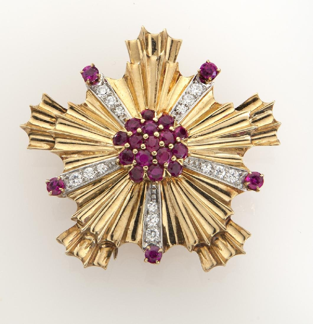 Tiffany & Co. 14K gold, diamond and ruby brooch.