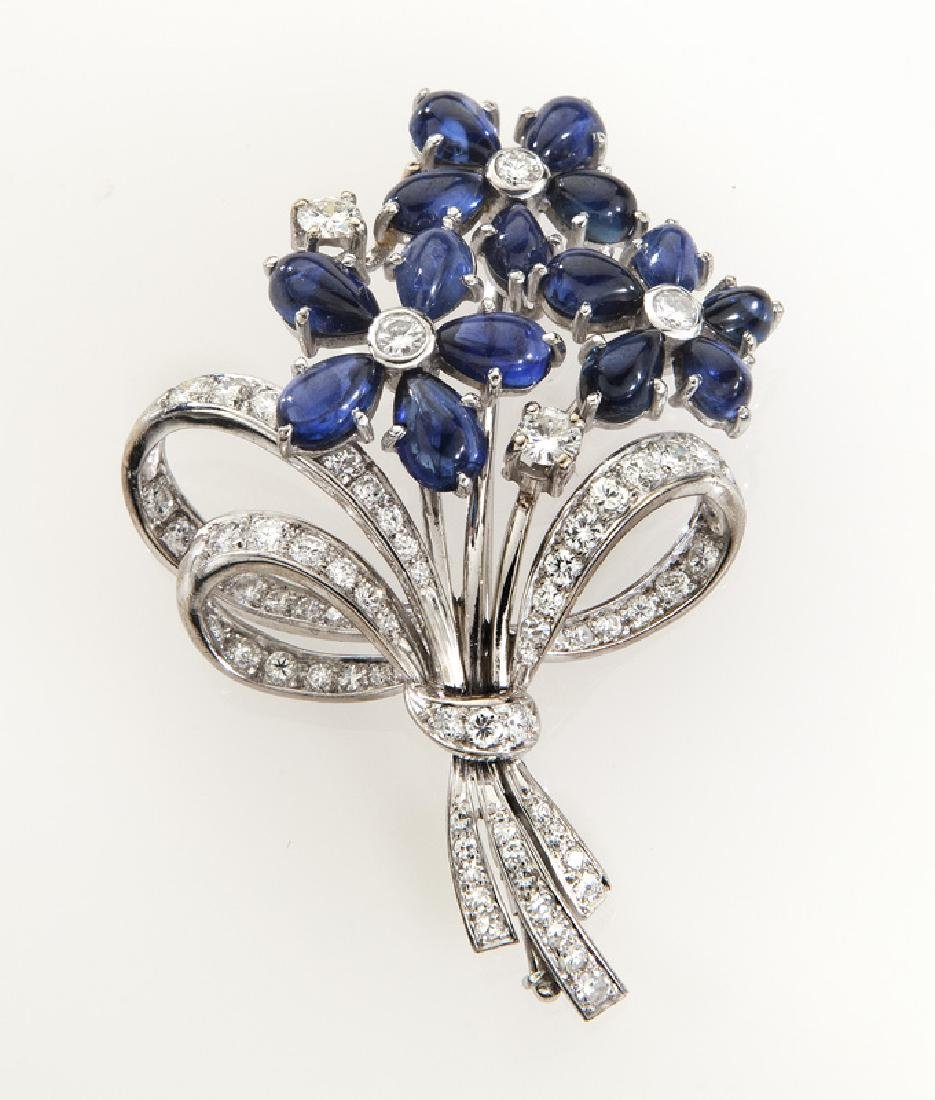 Deco/Retro 18K gold, diamond & sapphire brooch