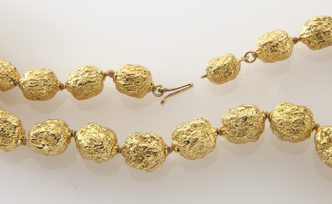 Italian 18K gold textured bead necklace. - 2