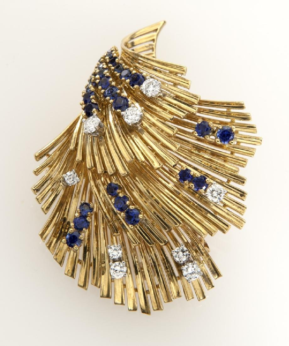 Retro Tiffany & Co. 18K gold, diamond and sapphire