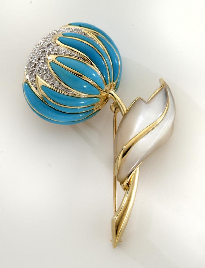 18K, diamond, Persian turquoise and mother of