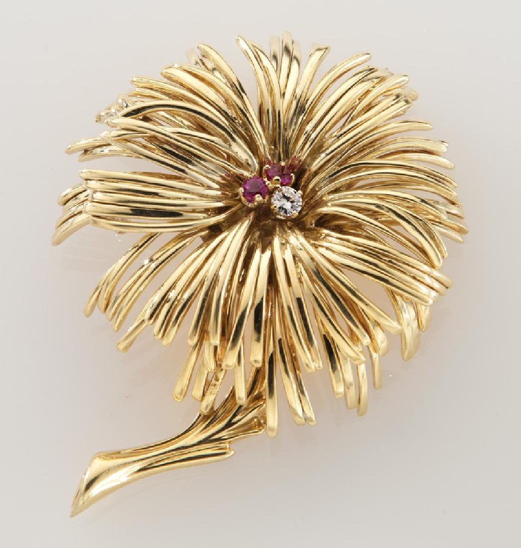 Tiffany & Co. 18K gold, diamond and ruby brooch.