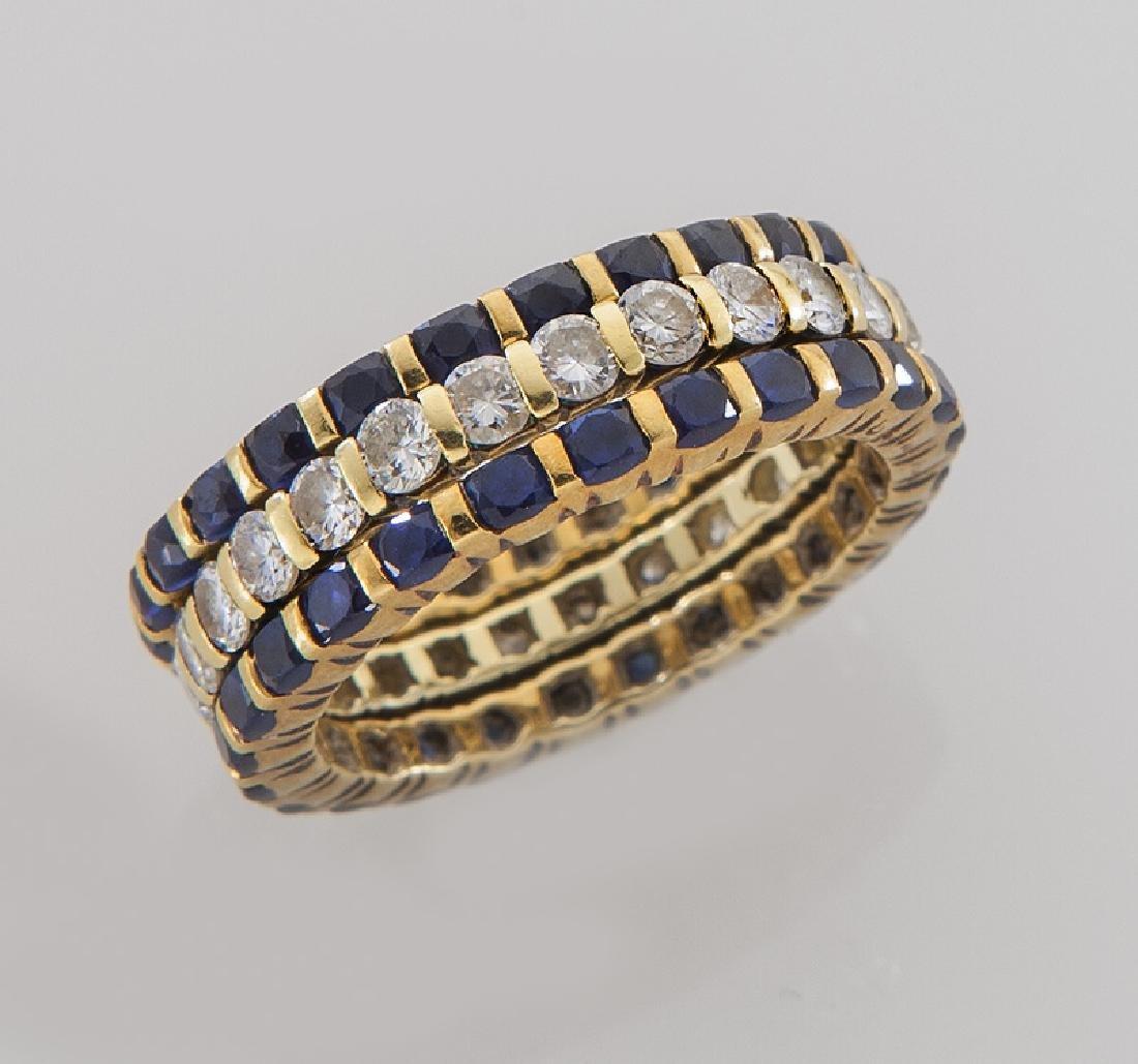 (3) Tiffany 18K, diamond & sapphire eternity