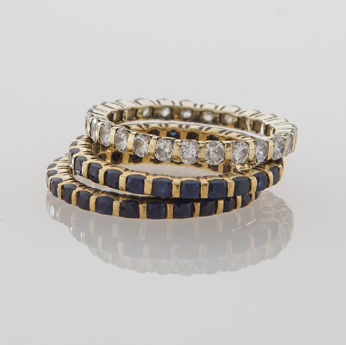 (3) Tiffany 18K, diamond & sapphire eternity - 2