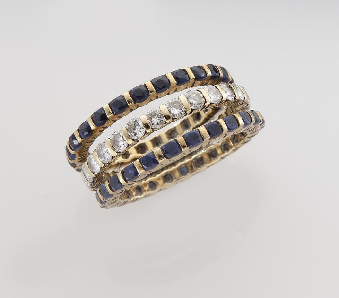 (3) Tiffany 18K, diamond & sapphire eternity - 3