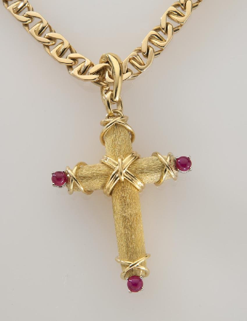 Tiffany & Co. 18K gold and ruby cross pendant