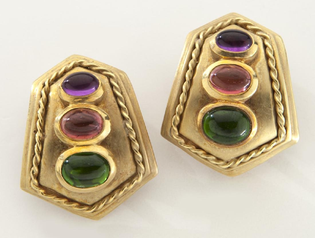 Pair of Athena 18K gold, tourmaline and amethyst