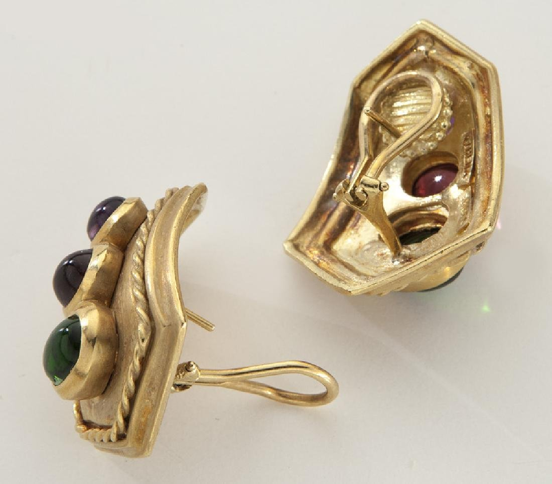 Pair of Athena 18K gold, tourmaline and amethyst - 2
