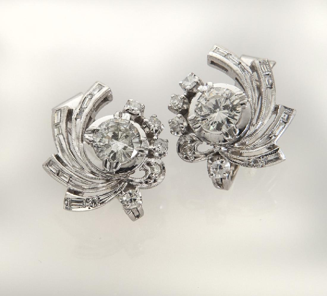 Pair of 9K gold and diamond earrings