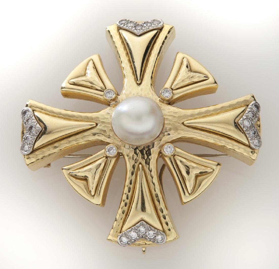 Andrew Clunn plat., 18K, diamond and pearl pendant