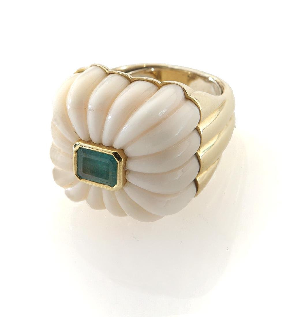 Andrew Clunn 18K gold, coral and emerald ring,